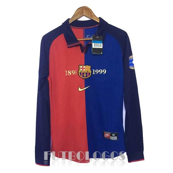 a9e23a0096ed6 camiseta 1899-1999 barcelona retro manga larga rojo azul
