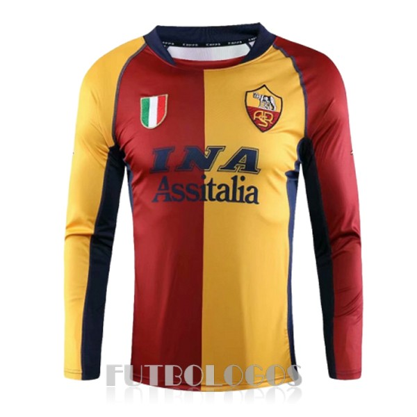 camiseta 2001-2002 as roma champions manga larga retro rojo amarillo azul