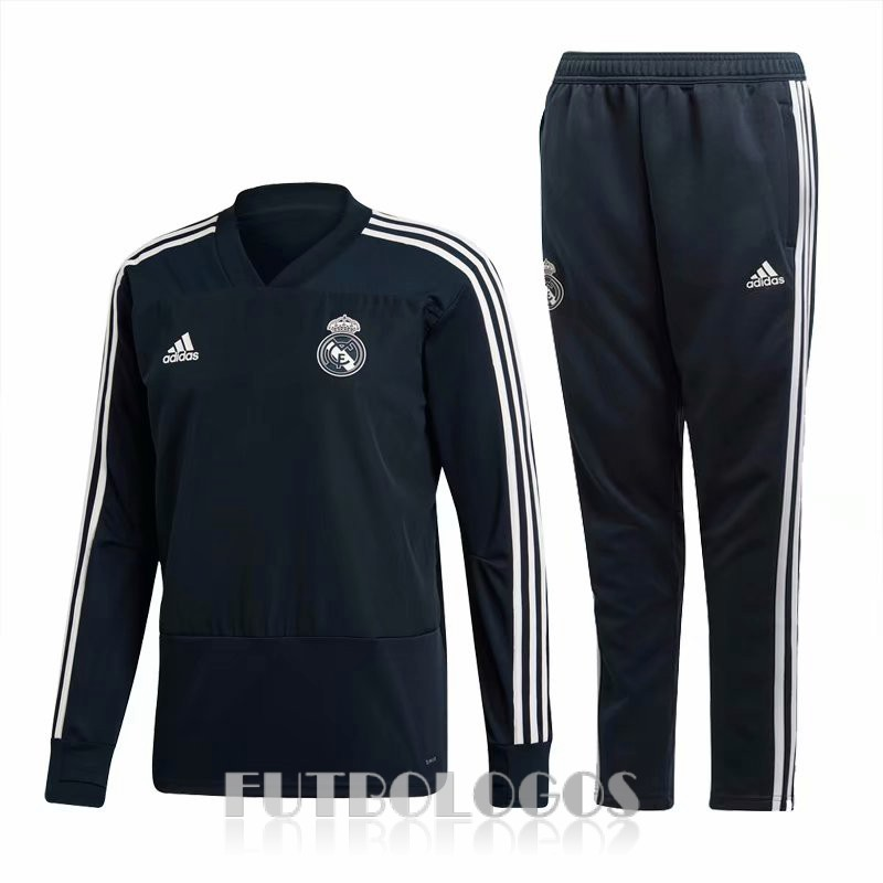 chandal 2018-2019 real madrid cuello v negro